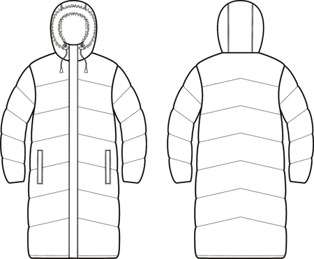 Vector illustration of womens winter down long coat. Front and back Иллюстрация