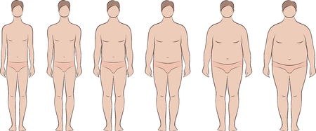 Vector illustration of mens figure. Different body mass