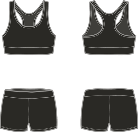 Vector illustration of sport underwear. Tank top and shorts. Front and back Illustration