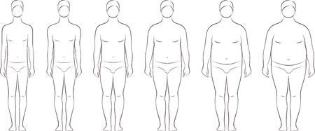 Vector illustration of men's figure. Different body mass