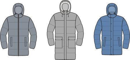 Vector illustration of mens winter down coat