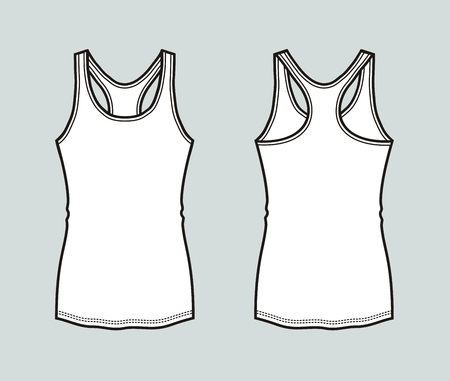 Vector illustration of sport tank top. Front and back Illustration