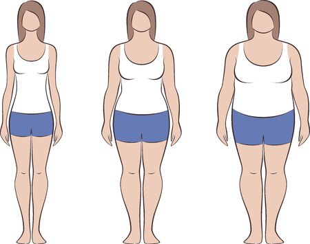 Vector illustration of womens figure wearing tank top and jean shorts. Different body types. Fullness. Increased fat deposition