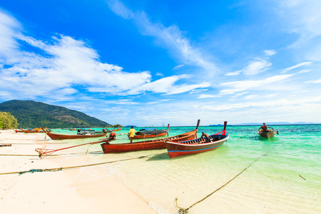 beautiful sea sand and white beach in andaman sea of thailand