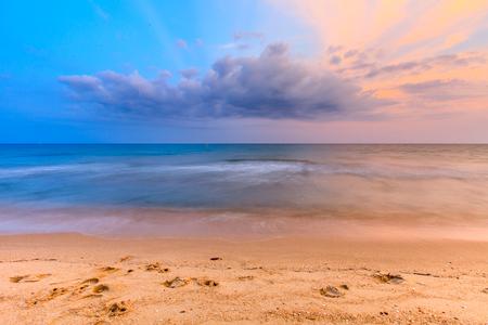 beautiful sunset sky on sea and beach of thailand Stock fotó