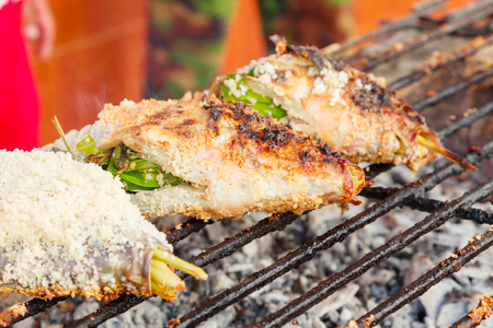 Fish grilled with salt Stock Photo