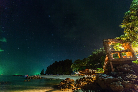 Start night at tropical beach and sea