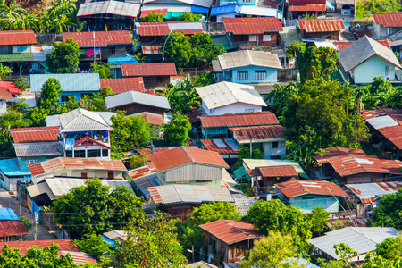 Aerial view of house in local thailand