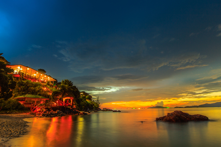 Beautiful sunset sky on tropical beach and island sea of Thailandd
