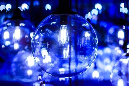Retro light decor. Blue filter