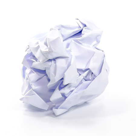 Crumpled paper isolated on white.