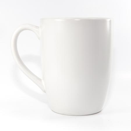 White mug on white background
