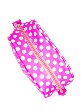 Pink bag for cosmetic on white background Stock Photo
