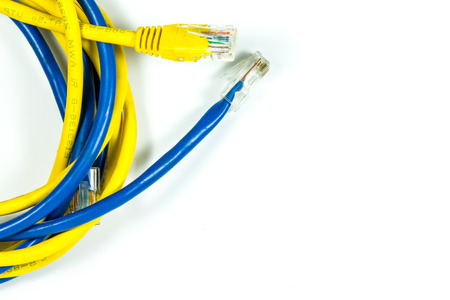 Ethernet cable on white background