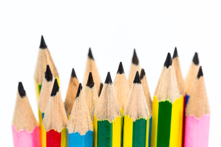Group of pencils on white background Stock Photo
