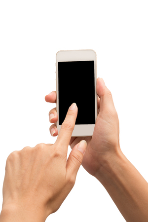 Hand use smartphone on white background Stock Photo