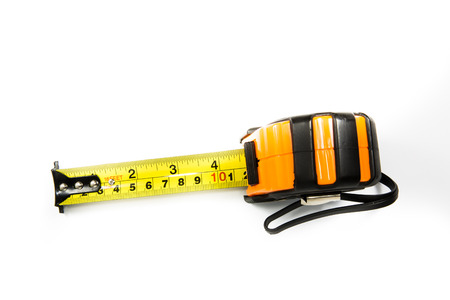 Measurement tape on white background