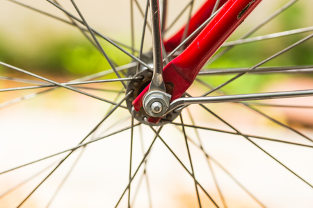 bicycle wheel close up Stock Photo