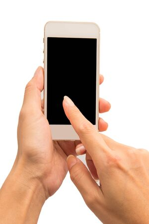 Hand use blank smartphone on white