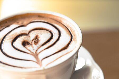 Heart shape latte art close up Stok Fotoğraf
