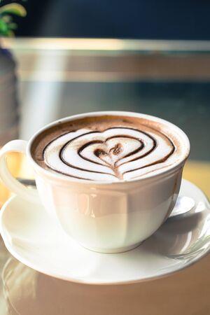 Hot latte coffee on table Stok Fotoğraf