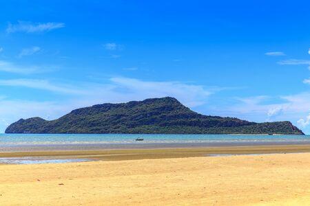 Natural tropical sand beach and blue sky Stok Fotoğraf