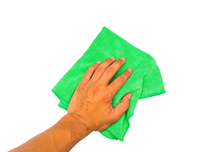 Hand use cleaning rag on white background Stock Photo