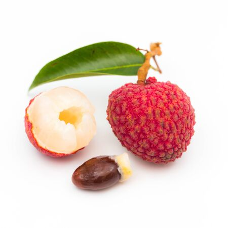 Fresh lichee fruit on white background