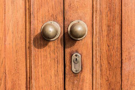 Old wooden door close up Imagens