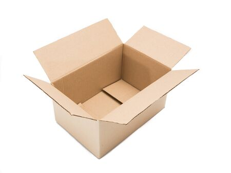 Open blank paper box on white background