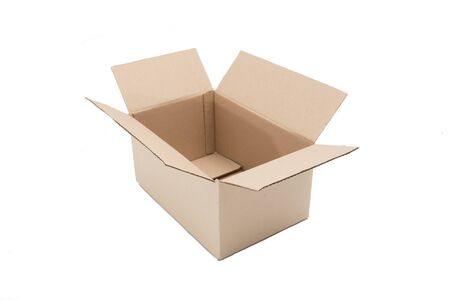 Brown open paper box on white background Imagens
