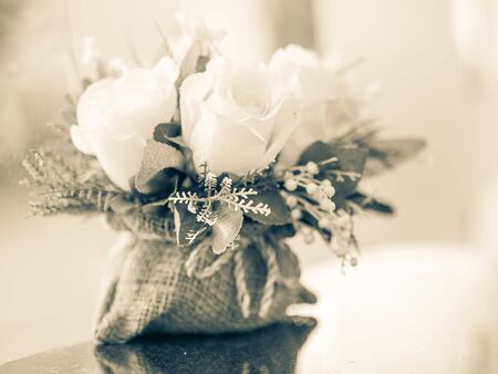 Vintage of bouquet roses flower on table decor