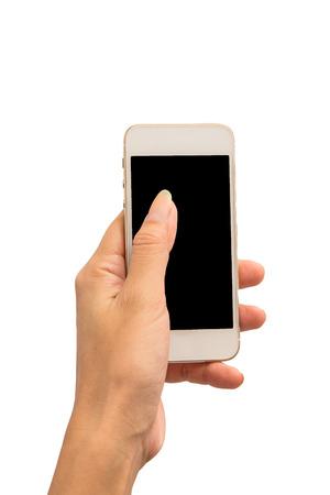 Tenere in mano lo smartphone su sfondo bianco
