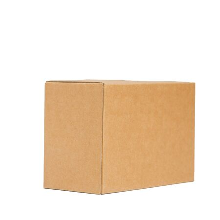 Brown paper box on white background