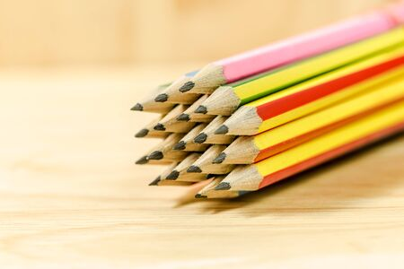 Group of pencils close up