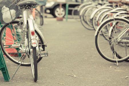 Bicycle parking in Japan. vintage filter