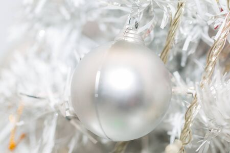 White Christmas ball decor close up Imagens