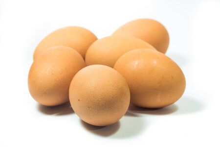 Fresh eggs on white background close up