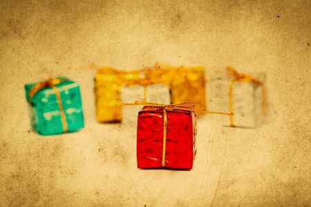 Christmas gifts close up. Retro filter