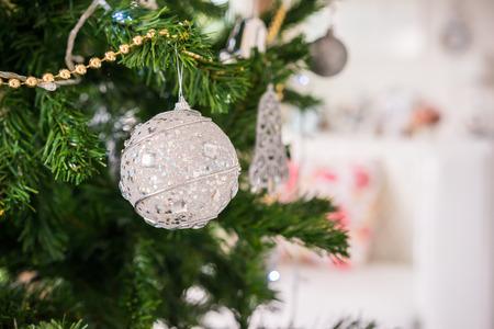 Christmas light and tree decor background