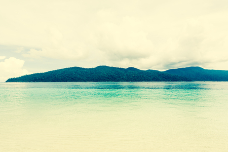 Retro tropical sand and ocean in thailand