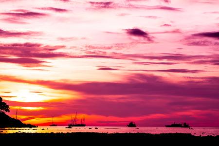 Beautiful fantastic sunse sky background on tropical sea and island
