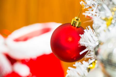 Christmas red ball decor on tree