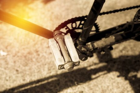 Old bicycle pedal close up. vintage filter Imagens - 134765159