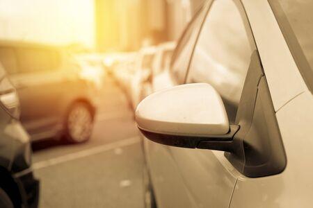 Car parking close up. vintage filter Imagens