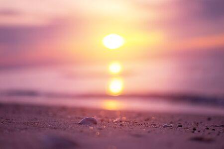 Beautiful sunrise over tropical beach. purple filter
