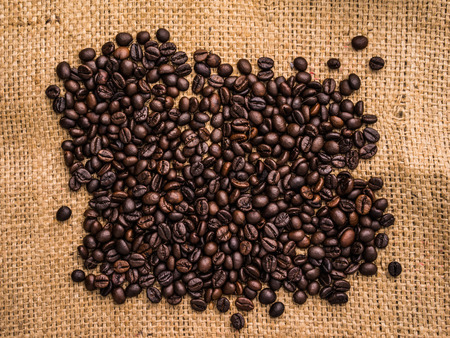 Roasted coffee bean of sackcloth