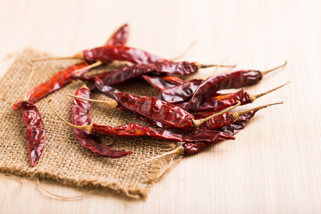 Red dry chilli on wood table