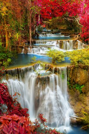 Beautiful tropical waterfall in deep forest