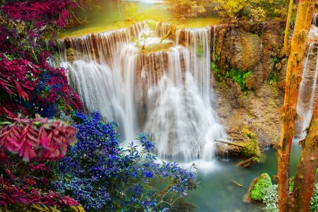 Tropical waterfall in deep forest